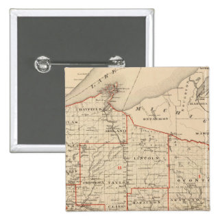 Map of Wisconsin showing senatorial districts 2 Inch Square Button