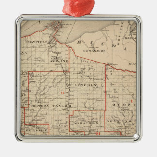 Map of Wisconsin showing senatorial districts Metal Ornament
