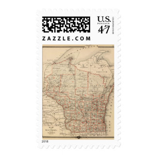 Map of Wisconsin showing senatorial districts Postage