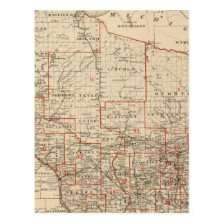 Map of Wisconsin showing senatorial districts Postcard