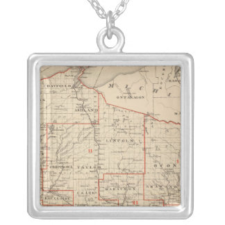 Map of Wisconsin showing senatorial districts Silver Plated Necklace