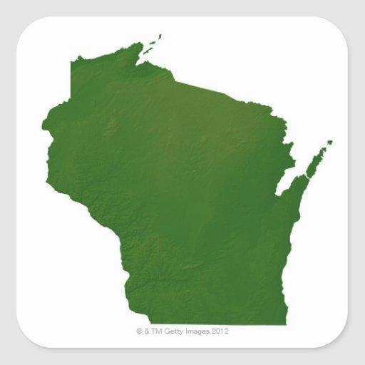 Map of Wisconsin Square Sticker
