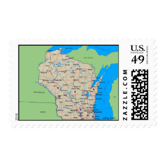 Map of Wisconsin U.S. Postage Stamps