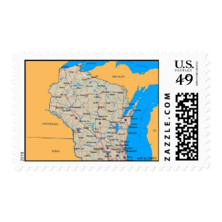 Map of Wisconsin US Postage Stamps