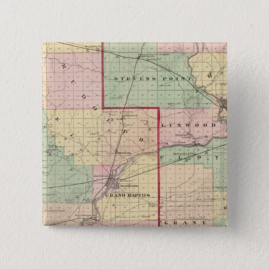 Map of Wood and Portage counties Pinback Button