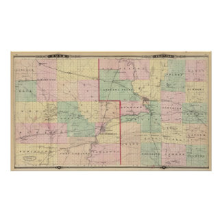 Map of Wood and Portage counties Posters