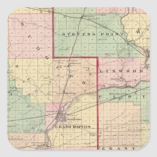 Map of Wood and Portage counties Square Sticker
