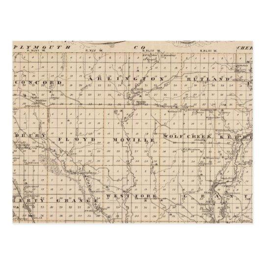 Map of Woodbury County, State of Iowa Postcard