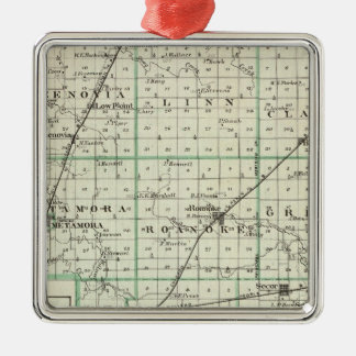 Map of Woodford County, El Paso and Metamora Metal Ornament