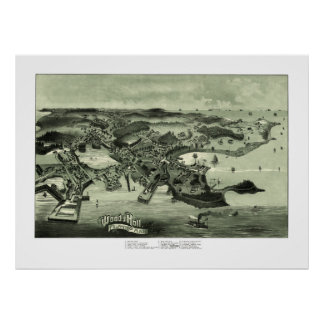 Map of Woods Hole, Massachusetts from 1887 Poster