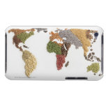 Map of world made of various seeds barely there iPod case