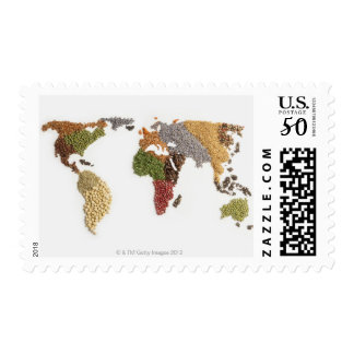Map of world made of various seeds postage