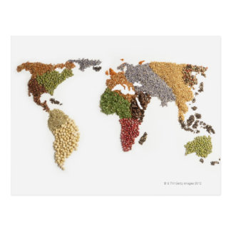 Map of world made of various seeds postcard