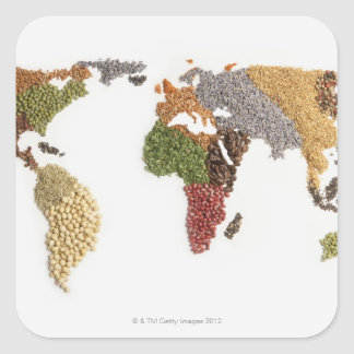 Map of world made of various seeds square sticker