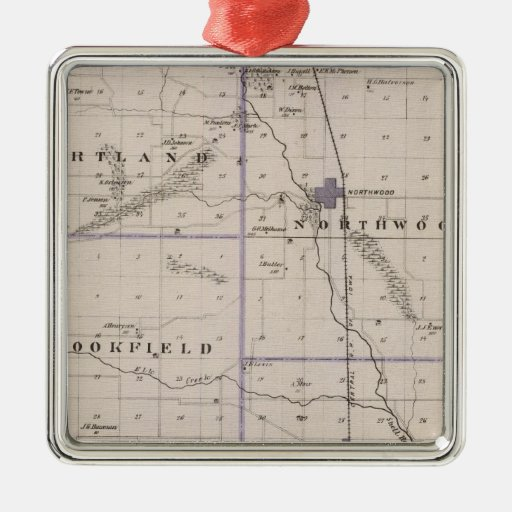Map of Worth County, State of Iowa Square Metal Christmas Ornament