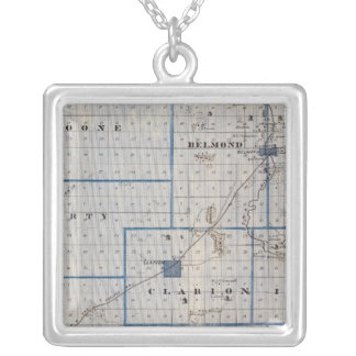 Map of Wright County, State of Iowa Silver Plated Necklace