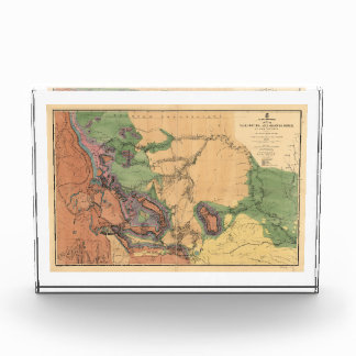 Map of Yellowstone and Missouri Rivers (1860) Acrylic Award