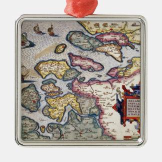 Map of Zeeland, c.1560 Metal Ornament