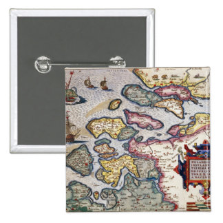 Map of Zeeland, c.1560 Pinback Button