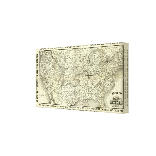 Map Ohio and Mississippi Railway Stretched Canvas Prints