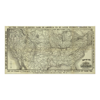 Map Ohio and Mississippi Railway Poster