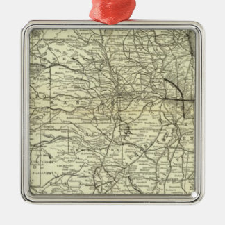 Map Ohio and Mississippi Railway Square Metal Christmas Ornament