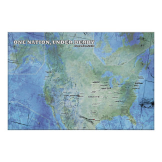 Map - One Nation, Under Derby Poster