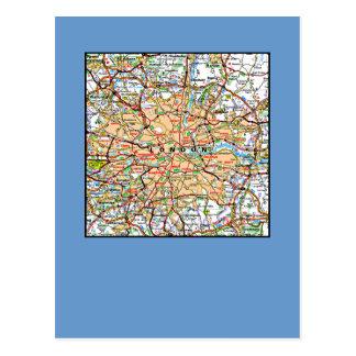 Map ooof London England Postcard