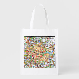 Map ooof London England Grocery Bags