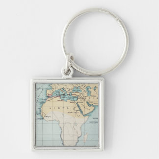 MAP: PHOENICIAN EMPIRE Silver-Colored SQUARE KEYCHAIN