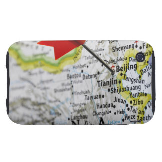 Map pin placed in Beijing, China on map, iPhone 3 Tough Covers