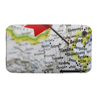 Map pin placed in Beijing, China on map, iPhone 3 Case