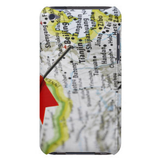 Map pin placed in Beijing, China on map, iPod Case-Mate Cases