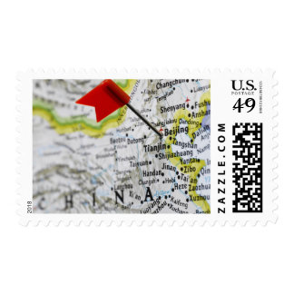 Map pin placed in Beijing, China on map, Postage Stamp