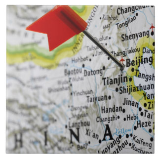 Map pin placed in Beijing, China on map, Large Square Tile