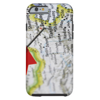 Map pin placed in Beijing, China on map, Tough iPhone 6 Case