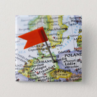 Map pin placed in Berlin, Germany on map,
