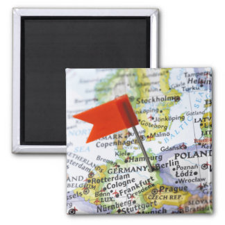 Map pin placed in Berlin, Germany on map, 2 Inch Square Magnet