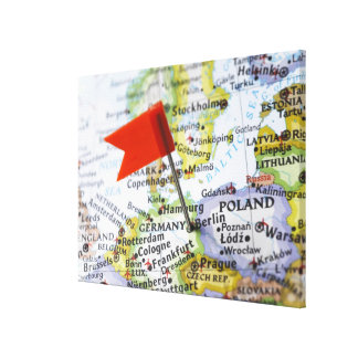 Map pin placed in Berlin, Germany on map, Canvas Print