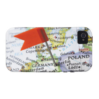 Map pin placed in Berlin, Germany on map, Case For The iPhone 4