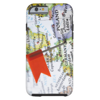 Map pin placed in Berlin, Germany on map, Tough iPhone 6 Case