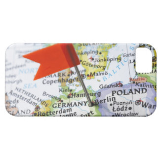 Map pin placed in Berlin, Germany on map, iPhone 5 Covers