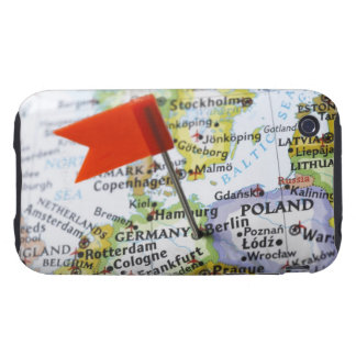 Map pin placed in Berlin, Germany on map, iPhone 3 Tough Covers