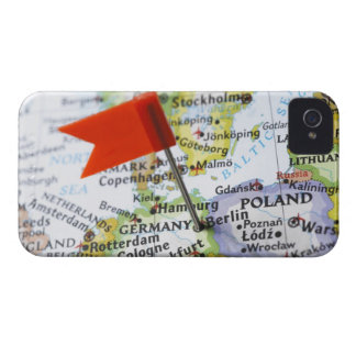 Map pin placed in Berlin, Germany on map, iPhone 4 Cover