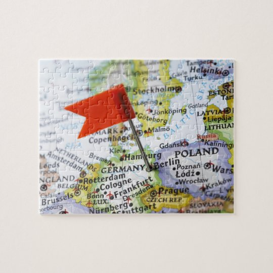 Map pin placed in Berlin, Germany on map, Jigsaw Puzzle