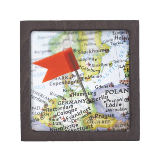 Map pin placed in Berlin, Germany on map, Keepsake Box