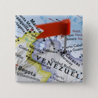 Map pin placed in Caracas, Venezuela on map,