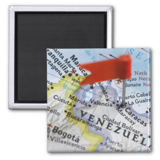 Map pin placed in Caracas, Venezuela on map, 2 Inch Square Magnet