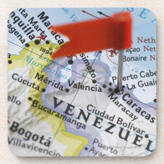 Map pin placed in Caracas, Venezuela on map, Drink Coaster