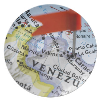 Map pin placed in Caracas, Venezuela on map, Melamine Plate
